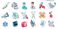 Medical theme icons vector material