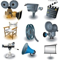 Movie theme icons vector material
