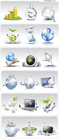 Network theme icons vector material