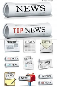 Newspapers theme icon vector material