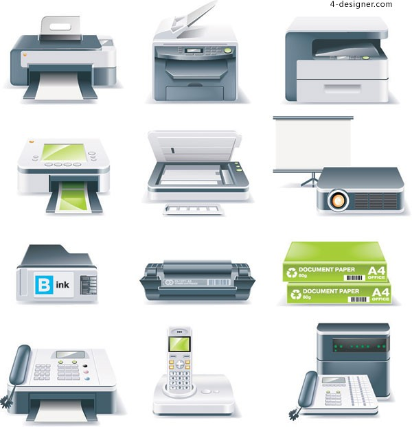 Pictures of different office equipments and their names