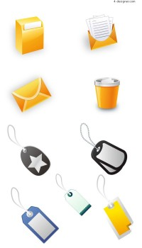 Office icon and label vector material