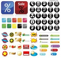Practical button icon vector material