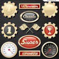 Racing theme icons vector material