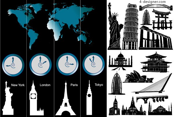 Renowned architecture and the time zone vector material