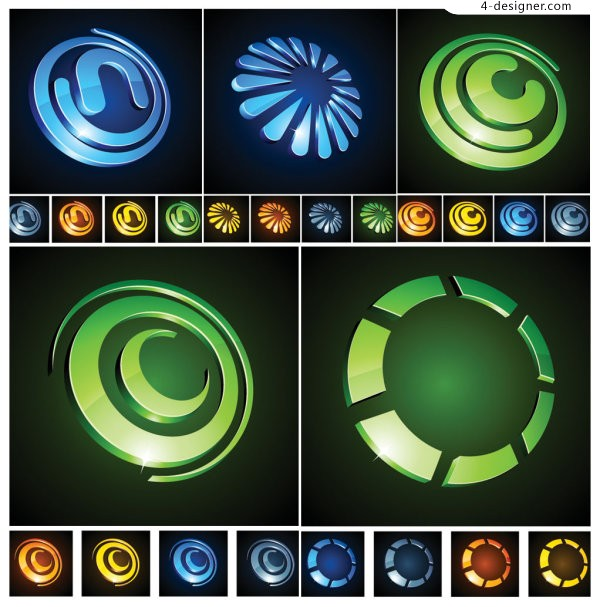 Round 3D icon vector material