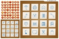 Round and hand painted icons vector material