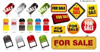 Sale tags and icons vector material