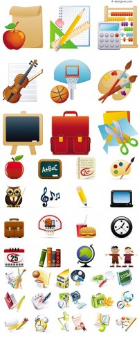 School related icons vector material