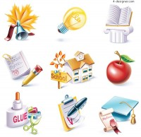 School theme icon vector material
