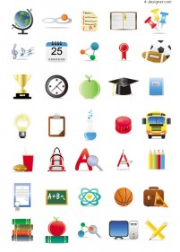 Schools with icons vector material