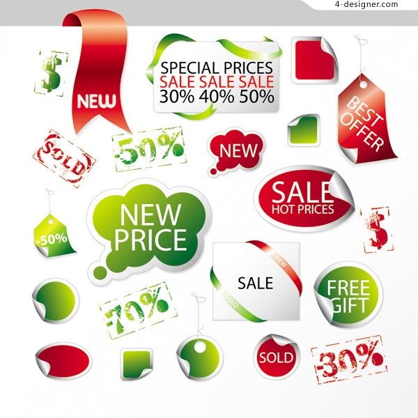 Sell promotional tag vector material