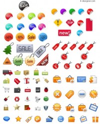 Shopping icons vector material