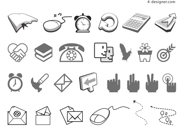 Simple black and white icon 2 vector material