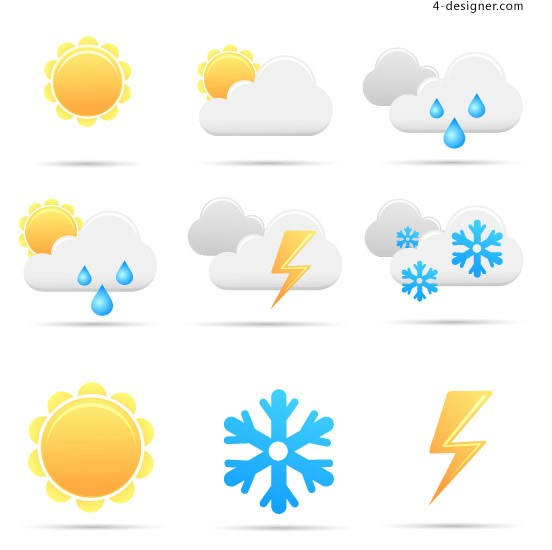 Simple weather icon vector material