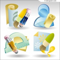 Stationery icons vector material