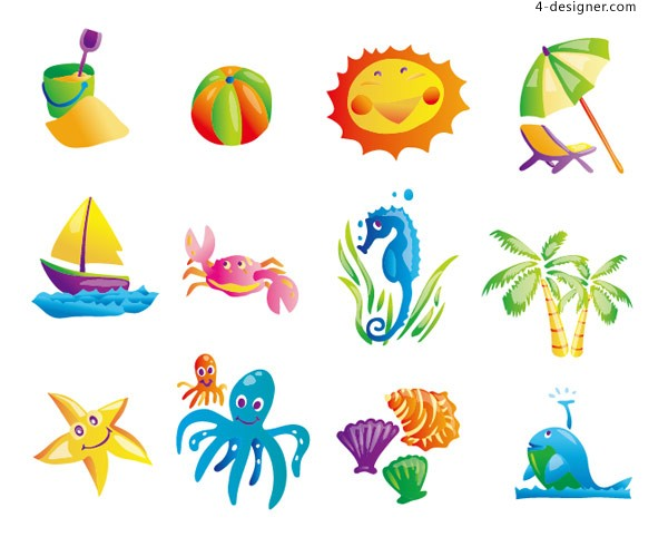 Sunny Beach element vector material