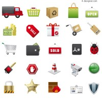 Supermarket icon vector material