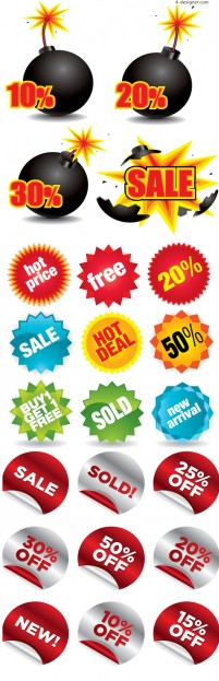 Supermarket sales tag vector material