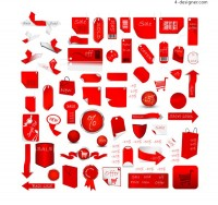Supermarket with red label vector material
