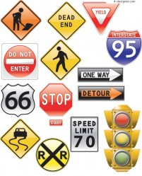 Traffic signs Theme vector material