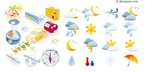 Travel and weather icon vector material