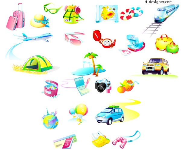 Travel goods icon vector material