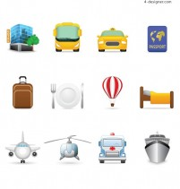 Travel theme icons vector material