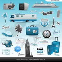 Travel theme vector material