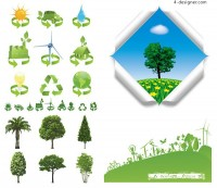 Trees and green icons vector material