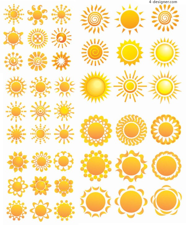 Variety of sunflowers patterns vector material