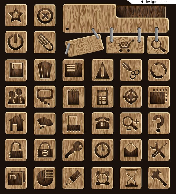 Vector Wood Icons vector material