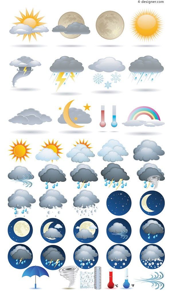 Weather forecast icon vector material