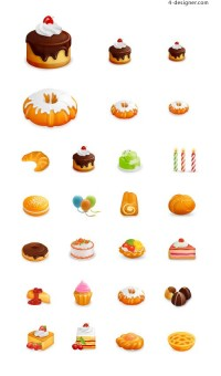 Western style pastries icon vector material