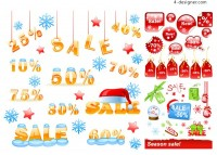 Winter discounts icon vector material