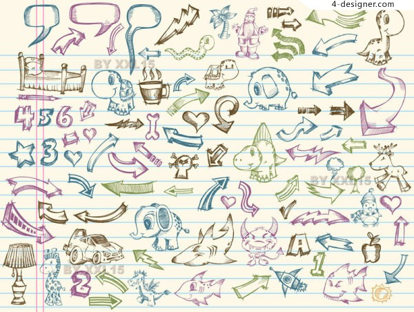 Hand drawn elements of the collection 2