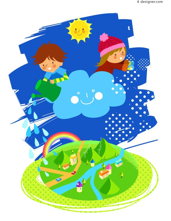 Vector lovely children 4