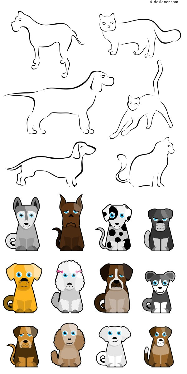 Stick figure cartoon puppy