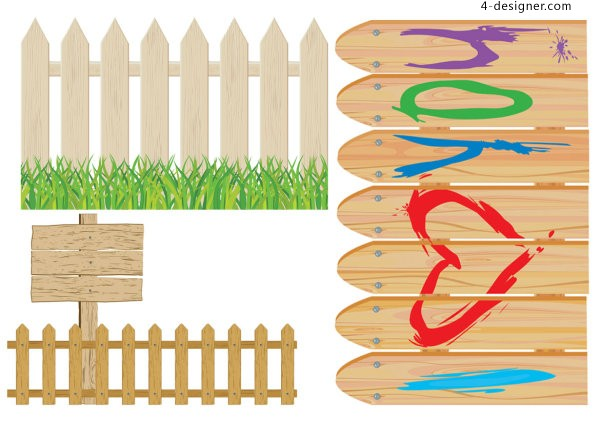Vector cartoon fence
