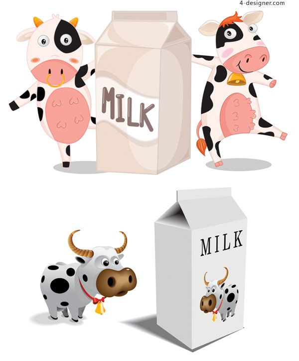 Cow milk cartons and