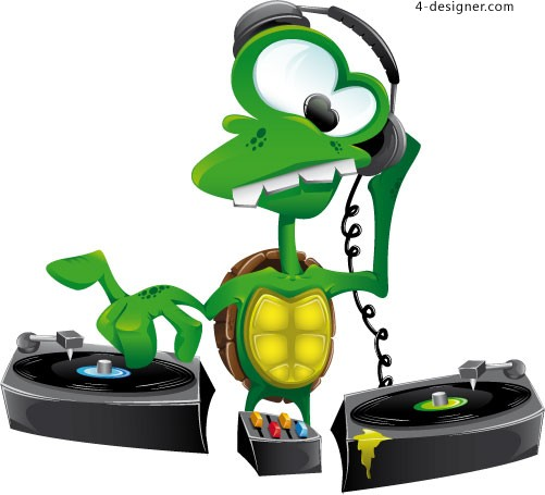 DJ cartoon turtle