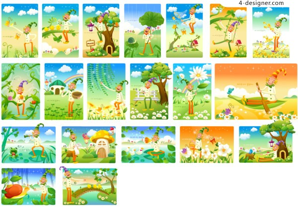 Clowns and scenery vector