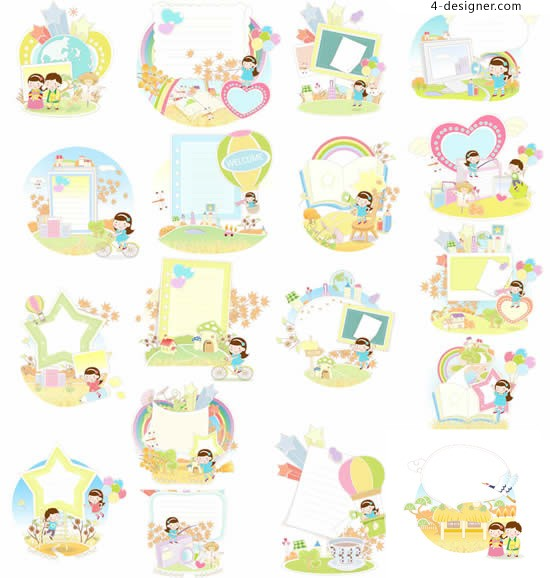 Children s cartoon stationery vector