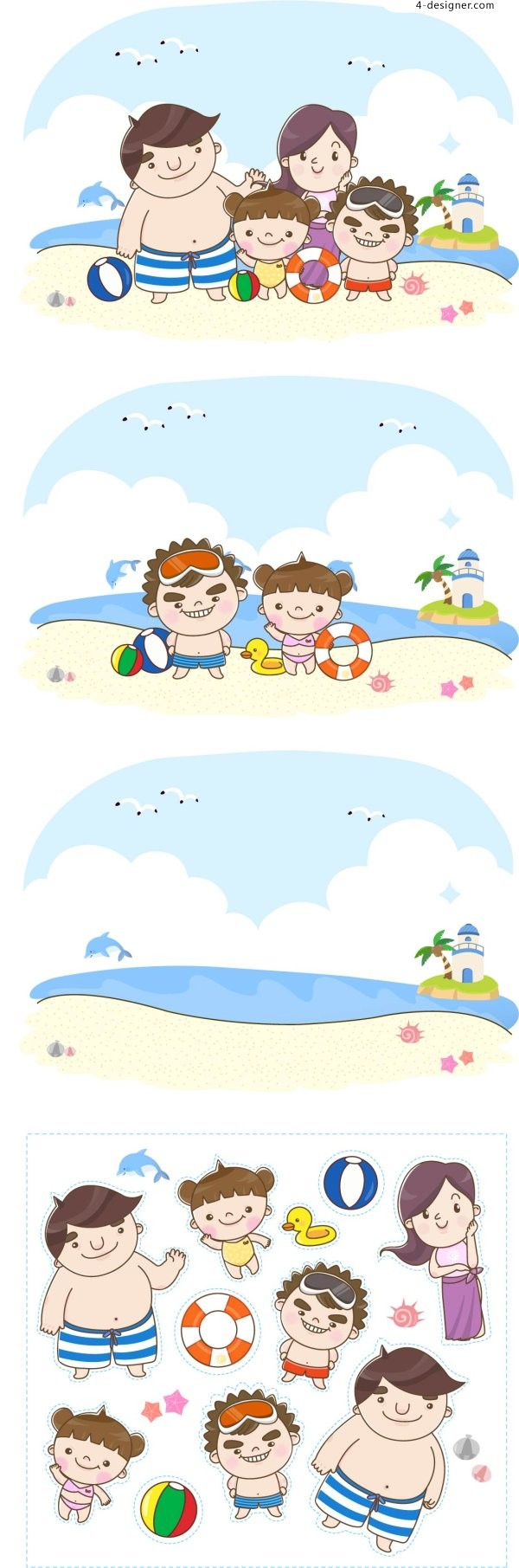 A person go to the beach to play vector material