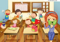 Active students in class vector material