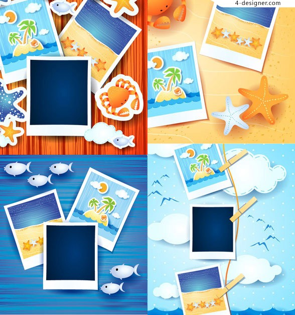 Album photo frame template vector material