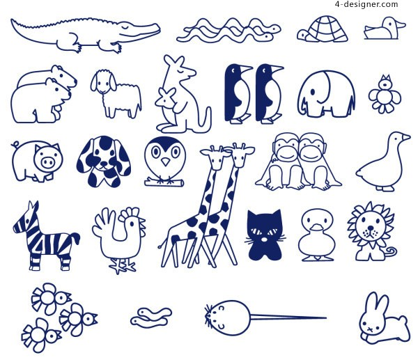 Animal stick figure vector material