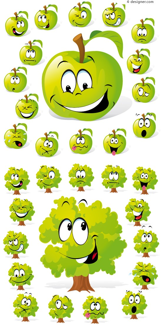 Apple trees Funny expression vector material