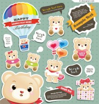 Baby Bear Stickers vector material