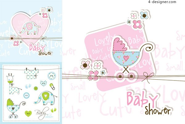 Baby Themes card vector material